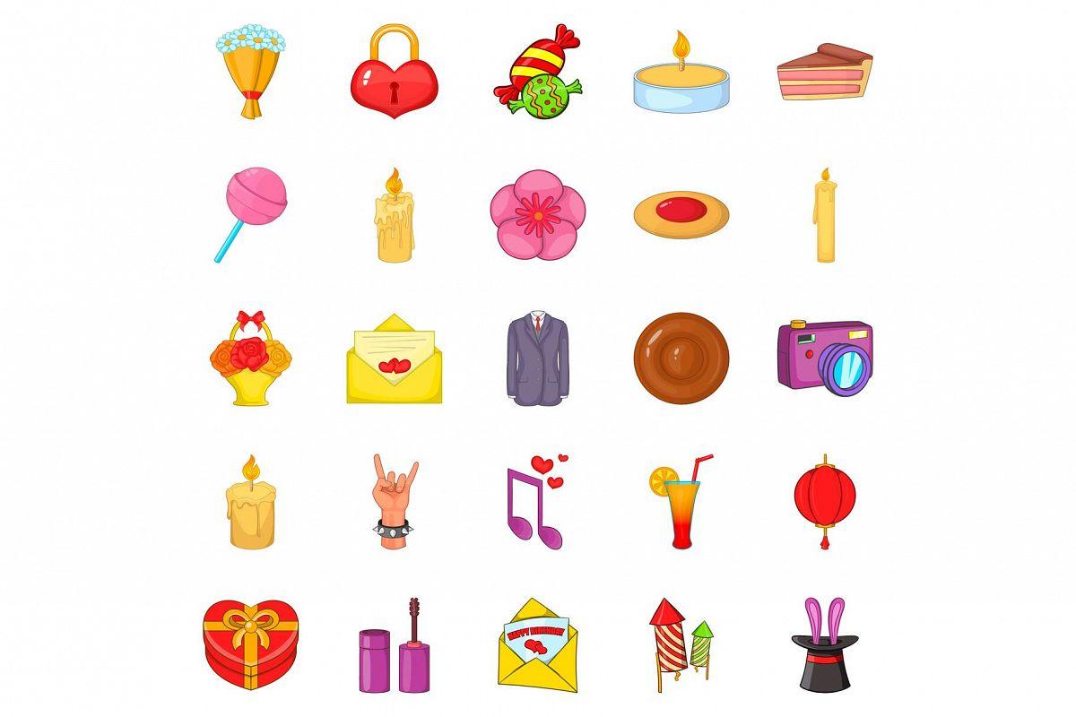 Revels icons set, cartoon style example image 1