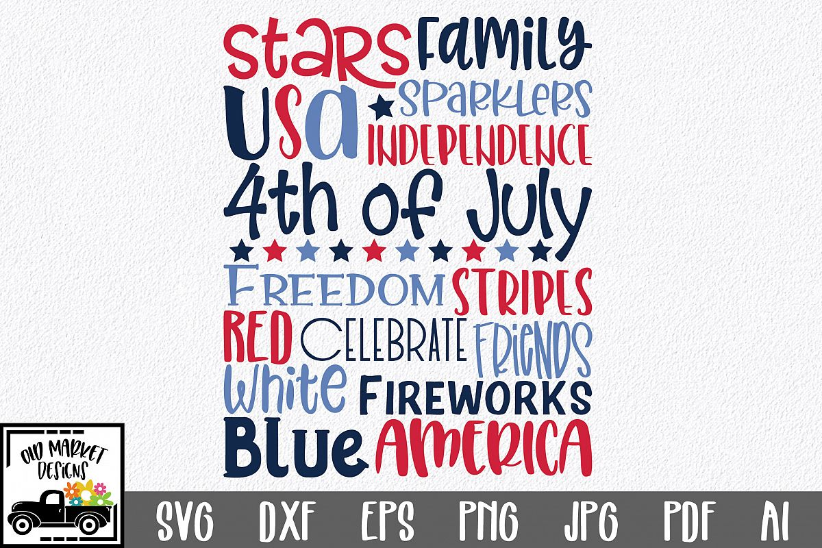 4th of July Subway Art SVG Cut File example image 1