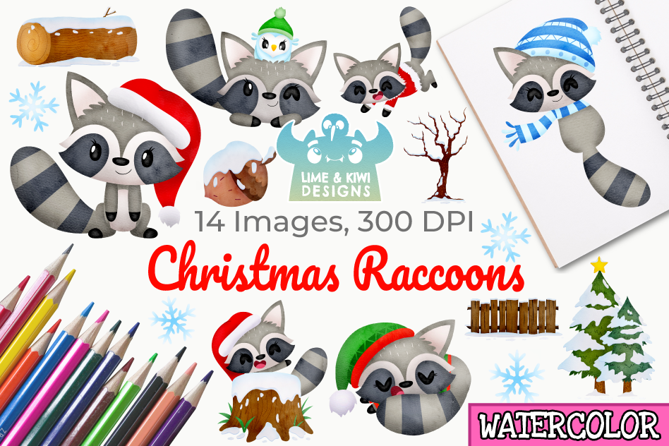 Christmas Raccoons Watercolor Clipart, Instant Download example image 1