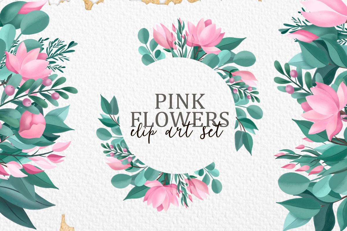 Pink Flowers. Clip art set example image 1