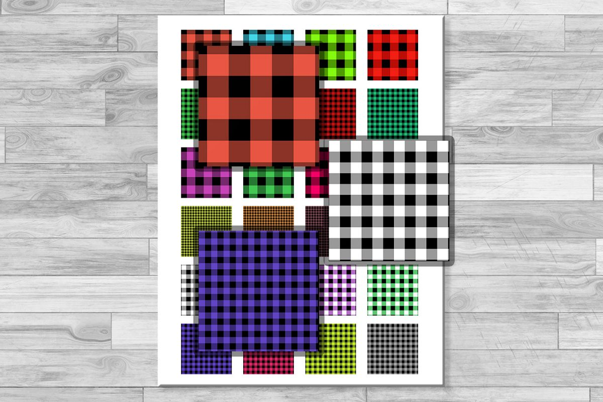 Buffalo Plaid Set,Collage Sheets, Rustic,1.5x1.5inch,1x1inch example image 1