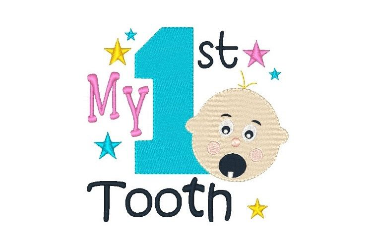 My First Tooth Embroidery Design Baby Embroidery example image 1
