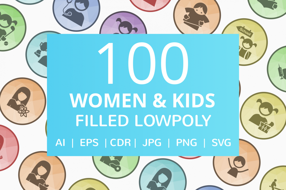 100 Women & Kids Filled Low Poly Icons example image 1