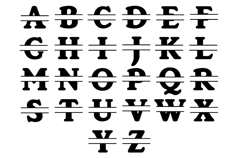 Split Monogram Alphabet SVG, Split Monogram Letters SVG. example image 1