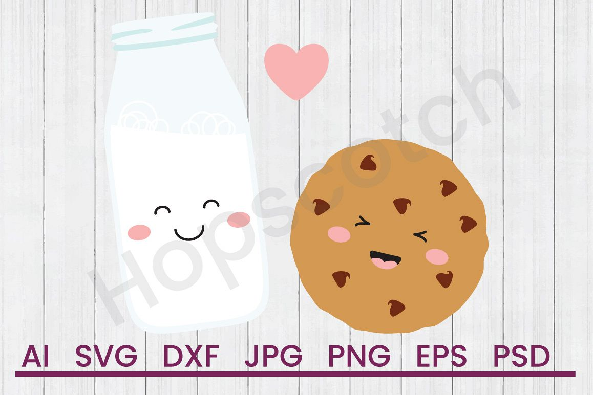 Milk With Cookie SVG, DXF File, Cuttatable File example image 1