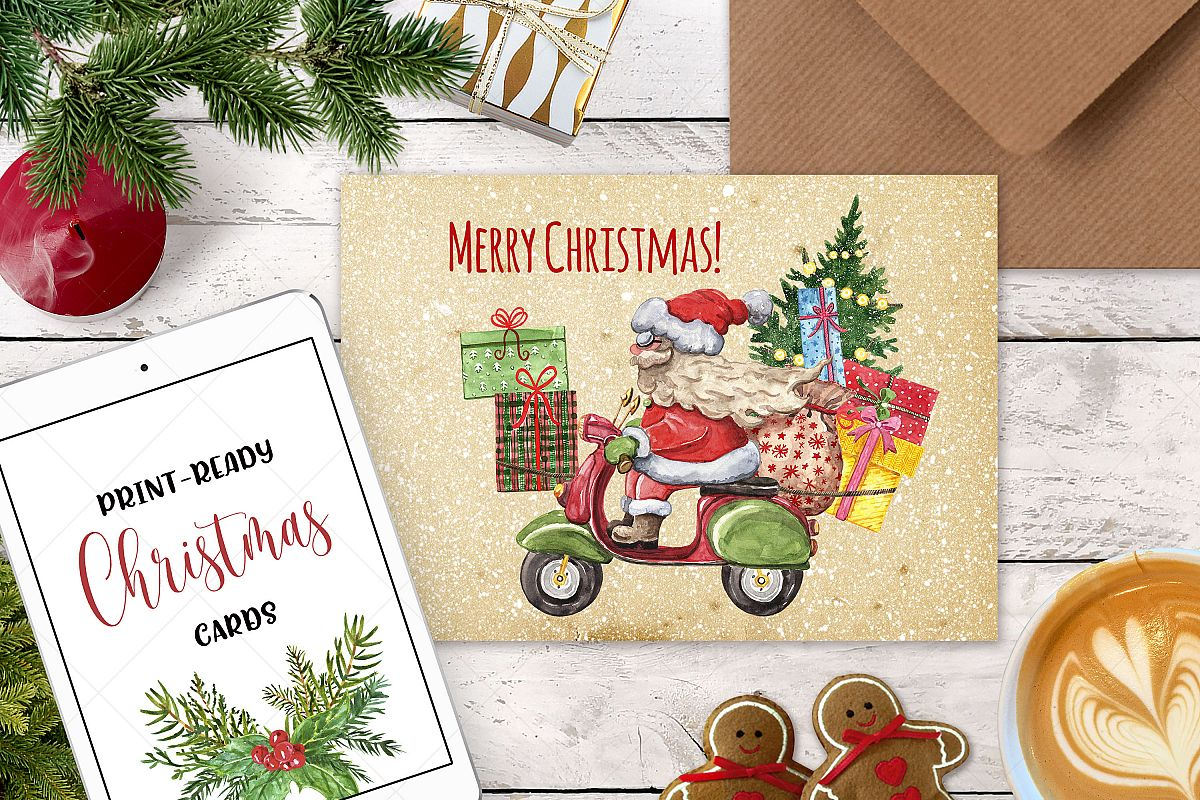 Watercolor Christmas Card Clip Art Holiday Card Set template example image 1