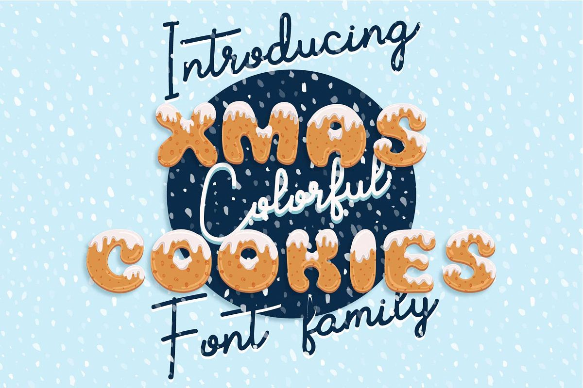 Xmas cartoon cookie font family example image 1