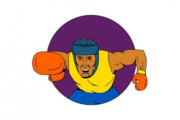 Amateur Boxer Punching Circle Drawing example image 1