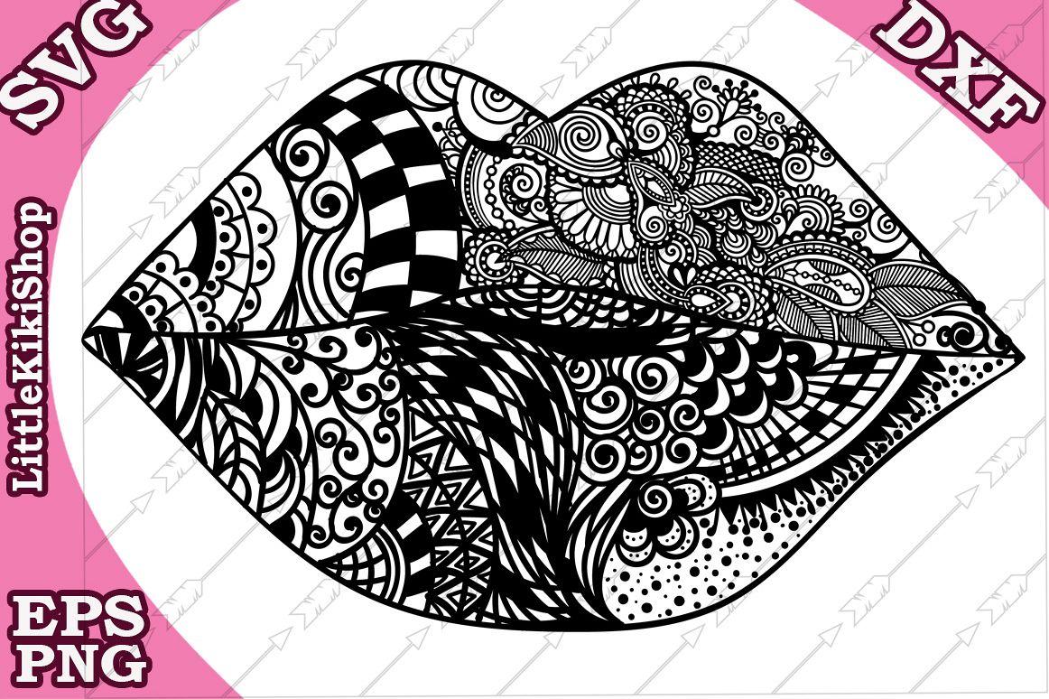 Lips Svg,Lips Kiss Svg,Mandala Lips Svg,Kiss Svg,Lips cut example image 1