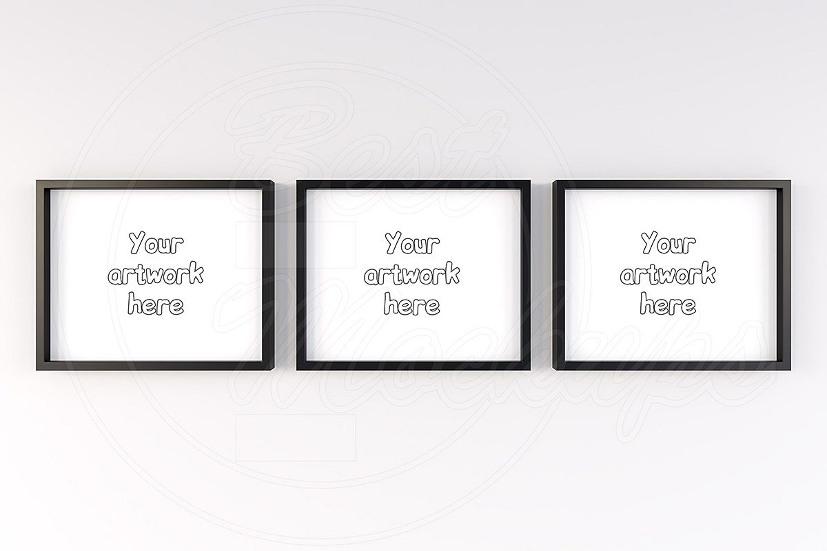 3 color wood frames mockup 10x8 inch example image 1