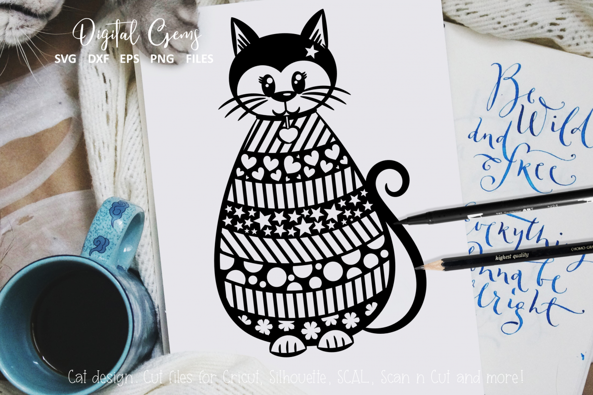 Cat paper cut design. SVG / DXF / EPS / PNG files example image 1