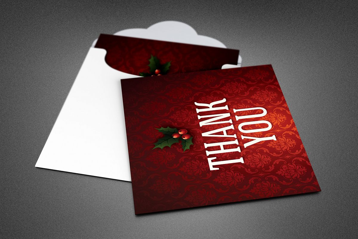 Ornate Christmas Thank You Card Template example image 1