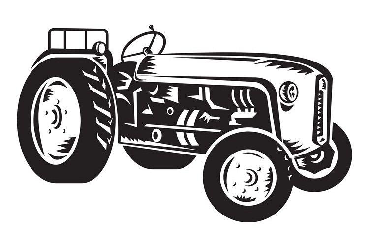 vintage tractor retro woodcut example image 1