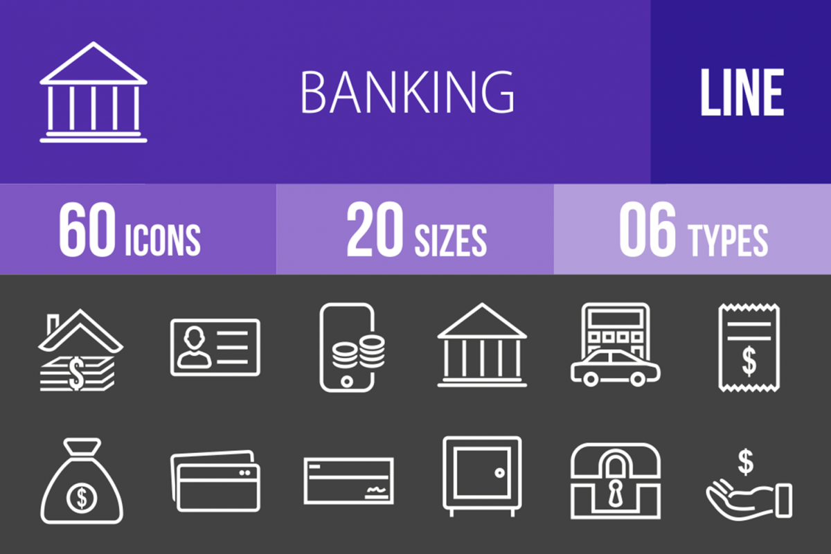60 Banking Line Inverted Icons example image 1