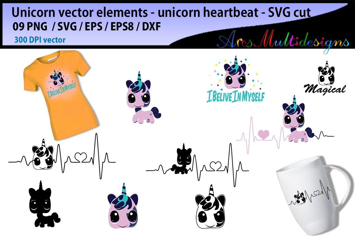 Unicorn heartbeat graphics and illustration heartbeat graph SVG unicorn  silhouette svg unicorn clipart vector unicorn elements