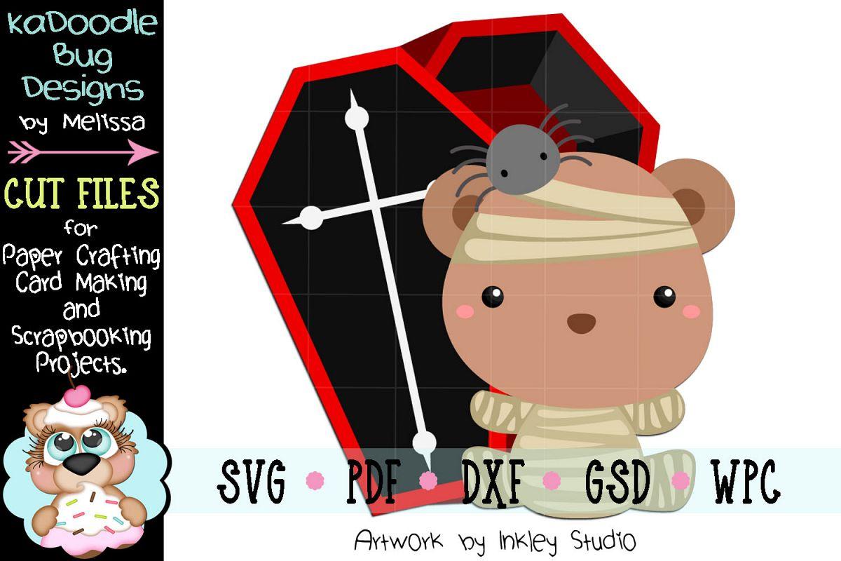Halloween Mummy Bear Cut File - SVG PDF DXF GSD WPC example image 1