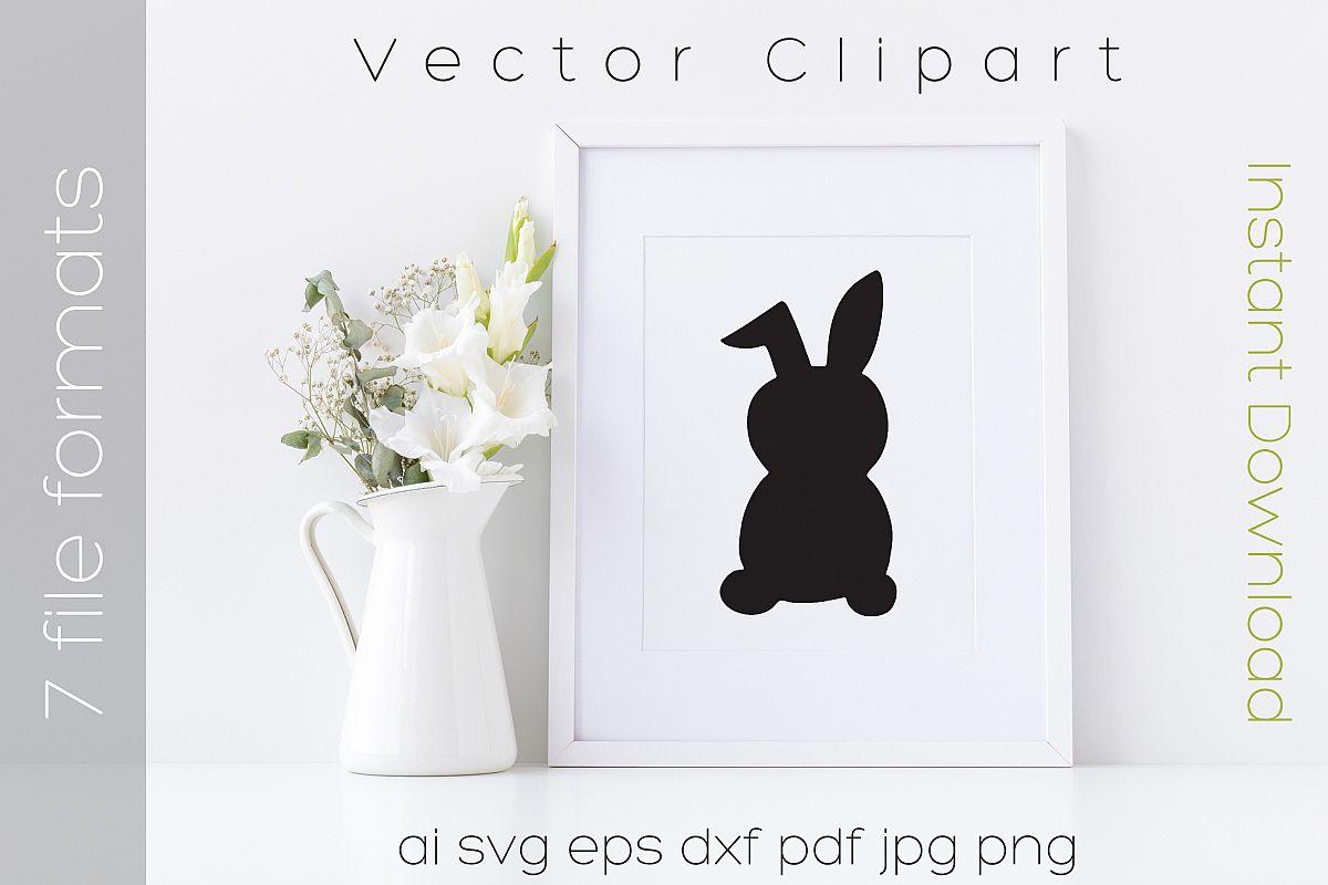 Rabbit SVG Black Clipart Bunny Drawing Vector Cut Files example image 1