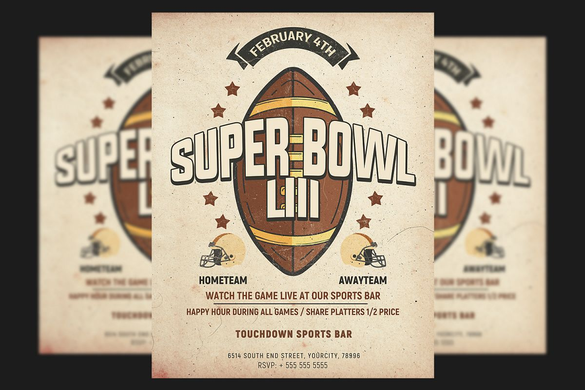 Football Super Bowl Flyer Template example image 1