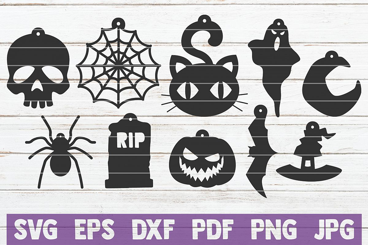 Halloween Earrings SVG Cut Files | commercial use example image 1