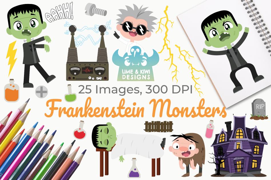 Frankenstein Monsters Clipart, Instant Download Vector Art example image 1