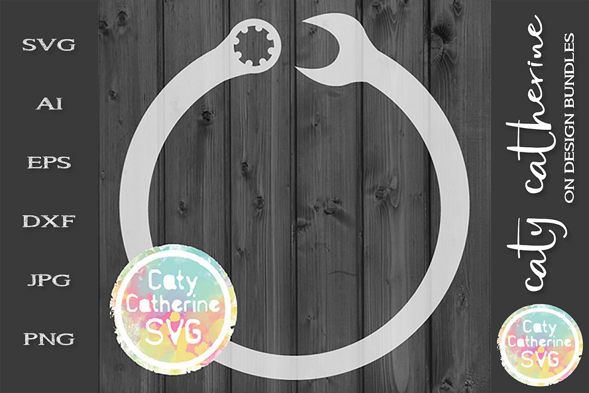 Spanner Ratchet Monogram Frame Father's Day SVG Cut File example image 1