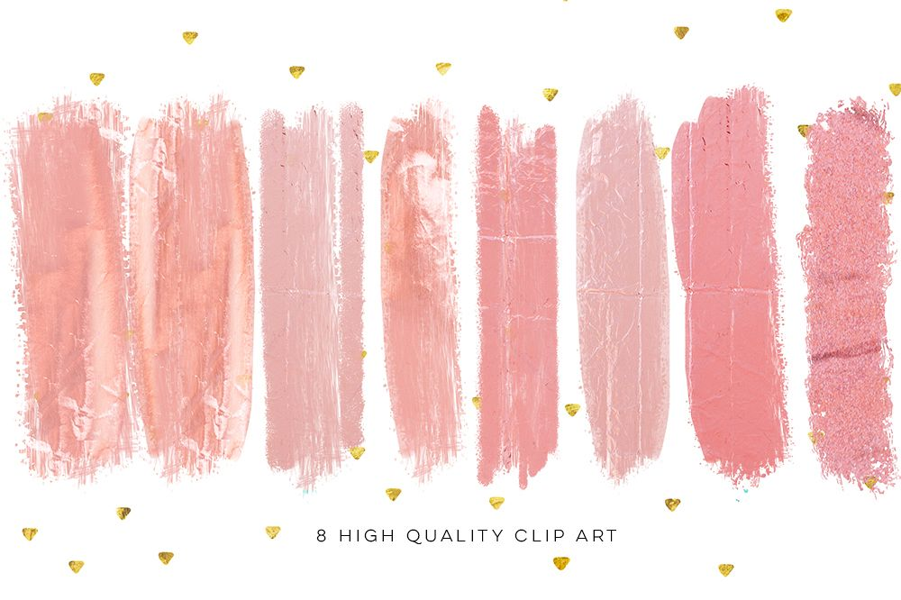 Blush pink brush strokes, rose gold DIY invitation, social media banner clip art, blog clip art, Instant Download, Photography clip art, example image 1