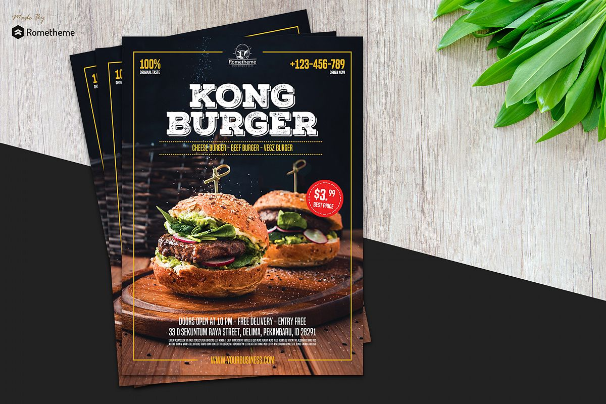 Burger Restaurant Flyer vol.01 example image 1