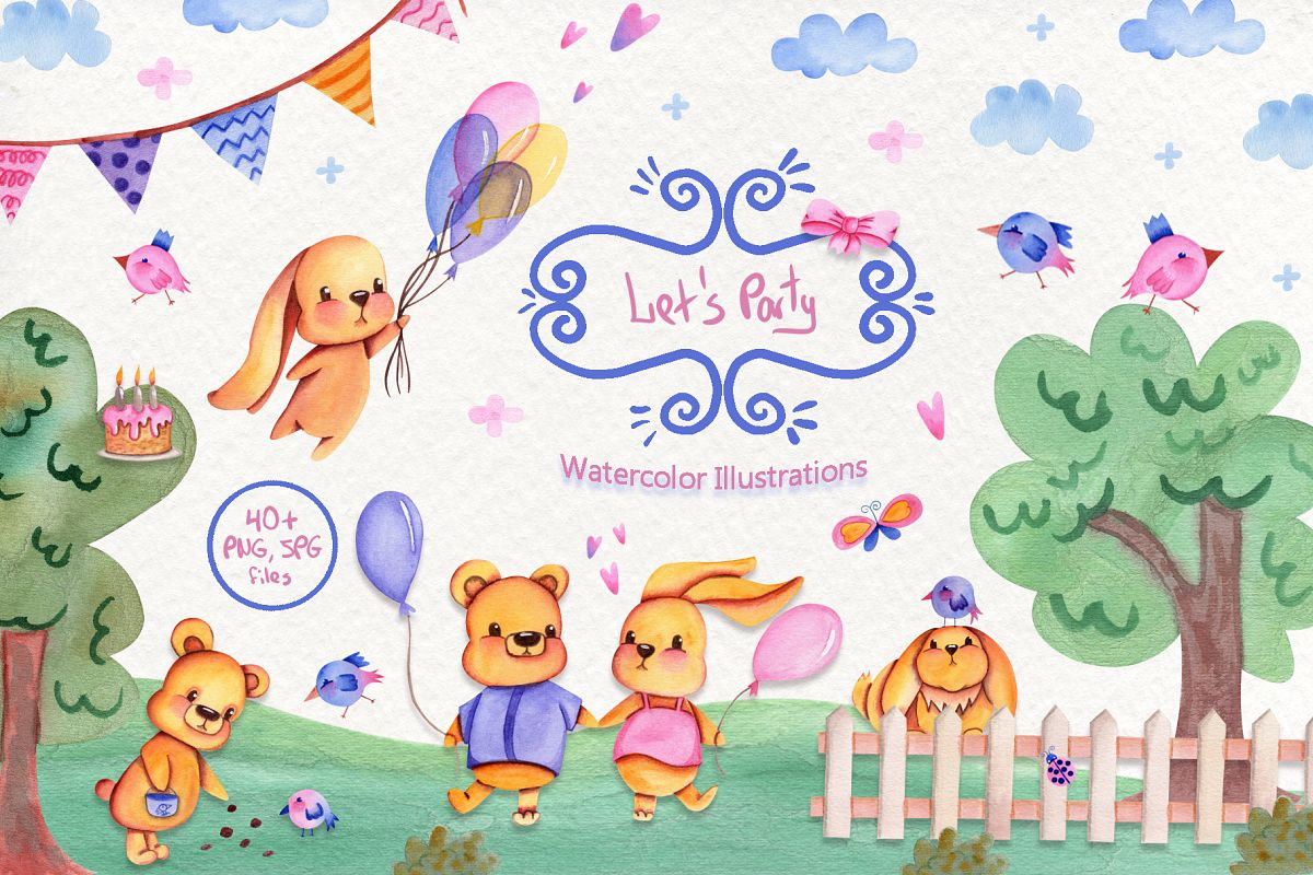 Party Time Watercolor Collection example image 1