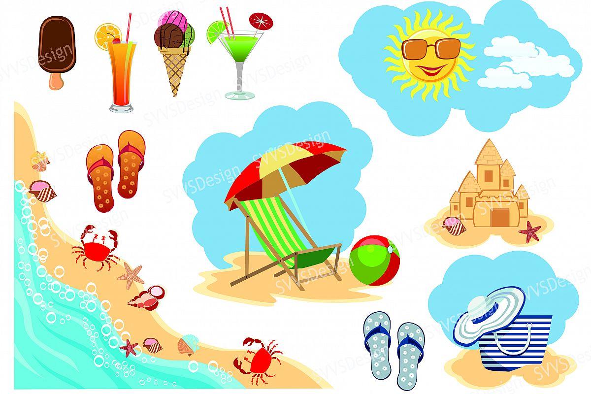 Summer Beach, Clipart, Vector, SVG, PNG . (vr) (72169 ...