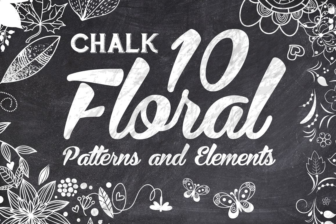 10 Chalk Floral Pattern Elements example image 1