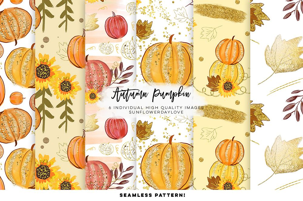 pumpkin pattern digital paper, autumn leaves digital paper example image 1
