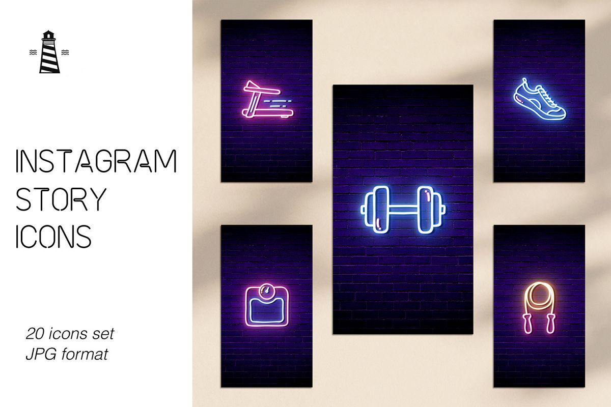 Gym Instagram Icons - Neon Design example image 1