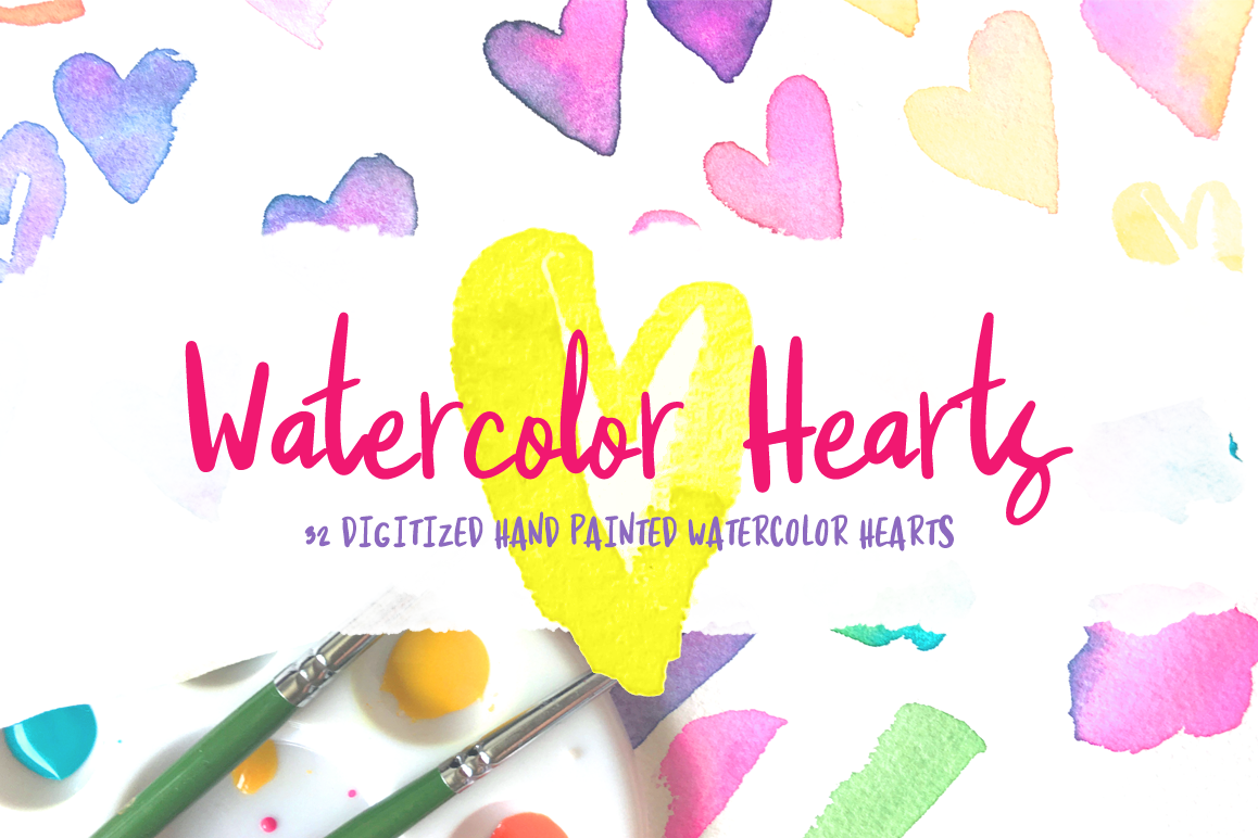 32 Handpainted Watercolor Hearts example image 1