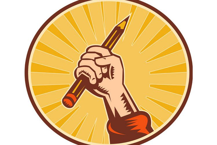 Hand holding pencil with sunburst example image 1