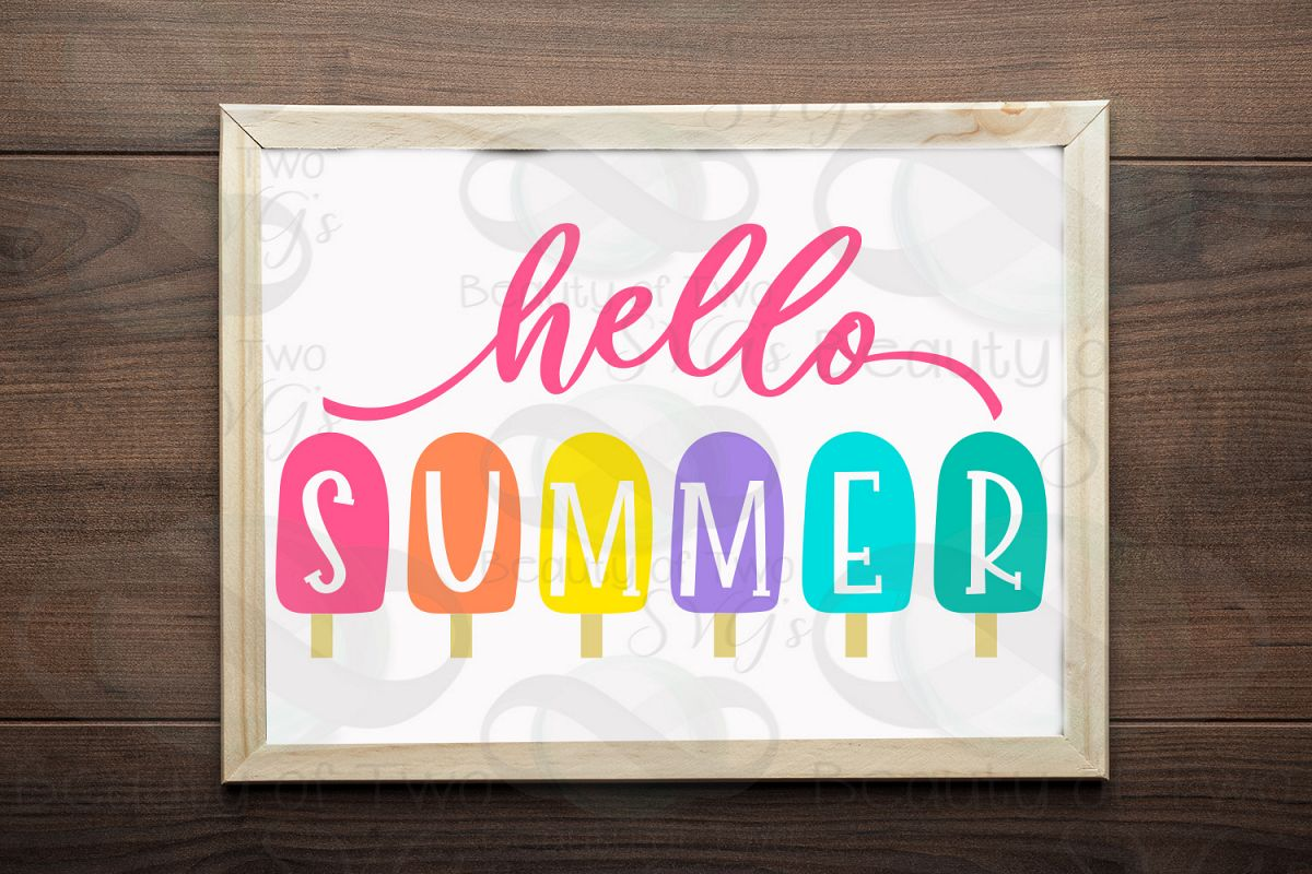 Hello Summer popsicles svg and png, Summer svg popsicles svg example image 1