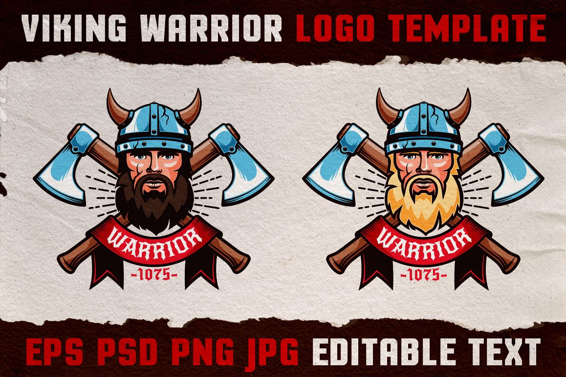 Viking Warrior Logo Colored Template example image 1