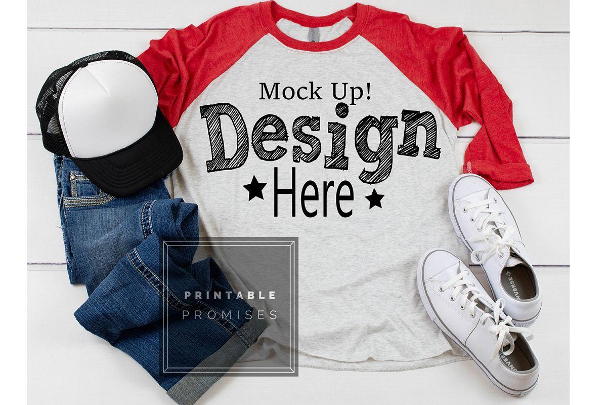 Next Level 6051 Red Raglan Mockup Shirt Street Style Mockup example image 1