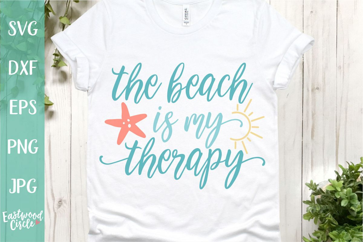 The Beach Is My Therapy - A Beach SVG Cut File for Crafters example image 1