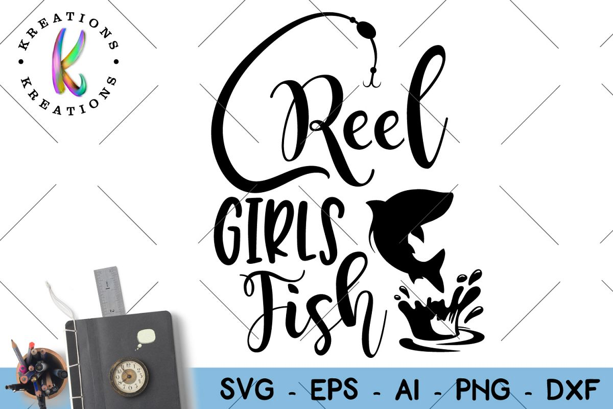 Fishing Svg Reel girls fish cut file  example image 1