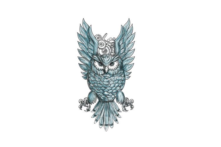 Owl Swooping Wings Clock Gears Tattoo example image 1