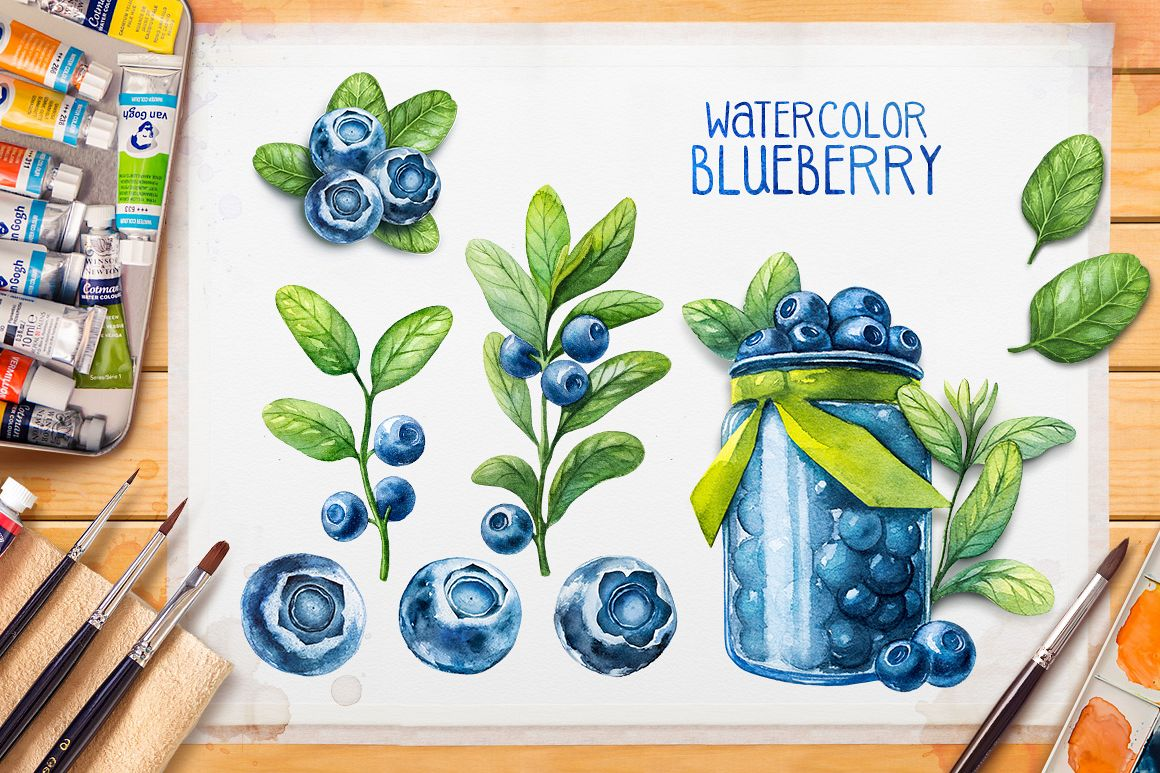 Watercolor blueberry example image 1