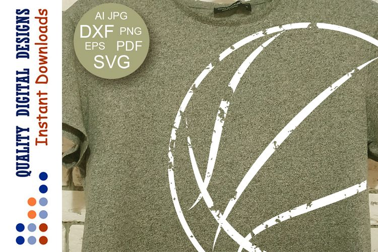 Basketball svg Ball Clipart Distressed file Sport Grunge example image 1