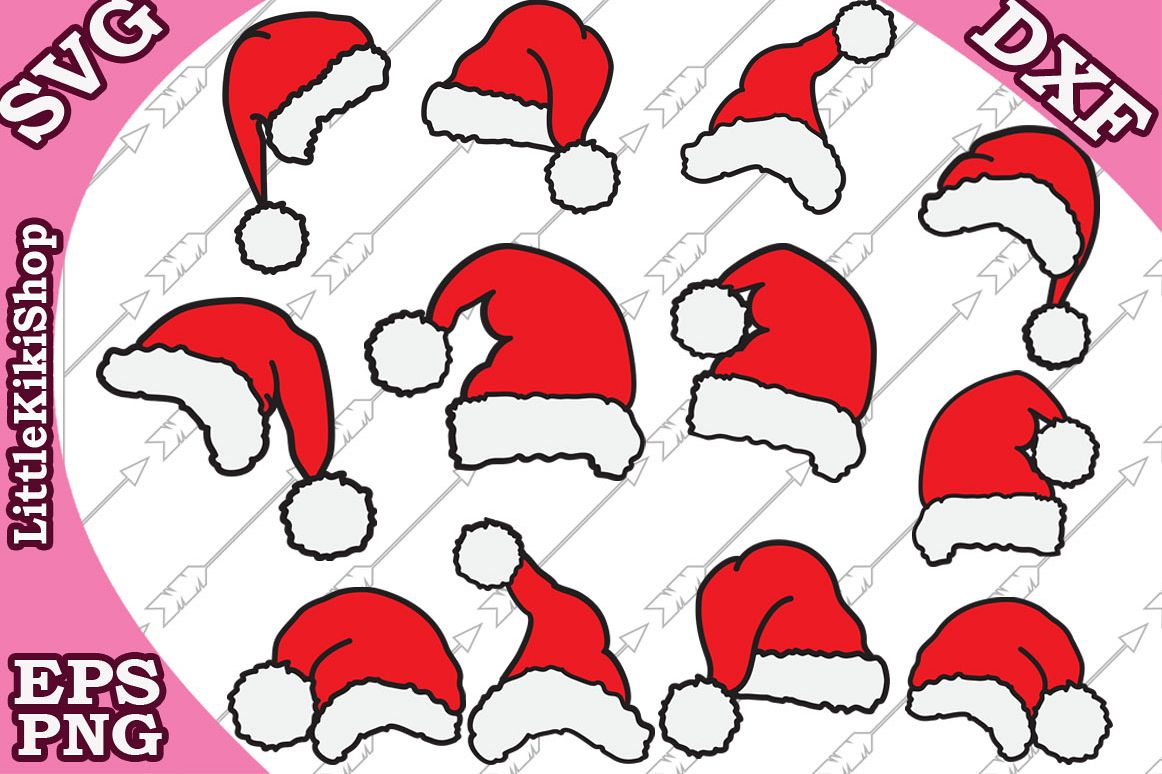 Santa Hat Svg, Christmas Svg,Santa Claus Svg, Xmas clipart example image 1