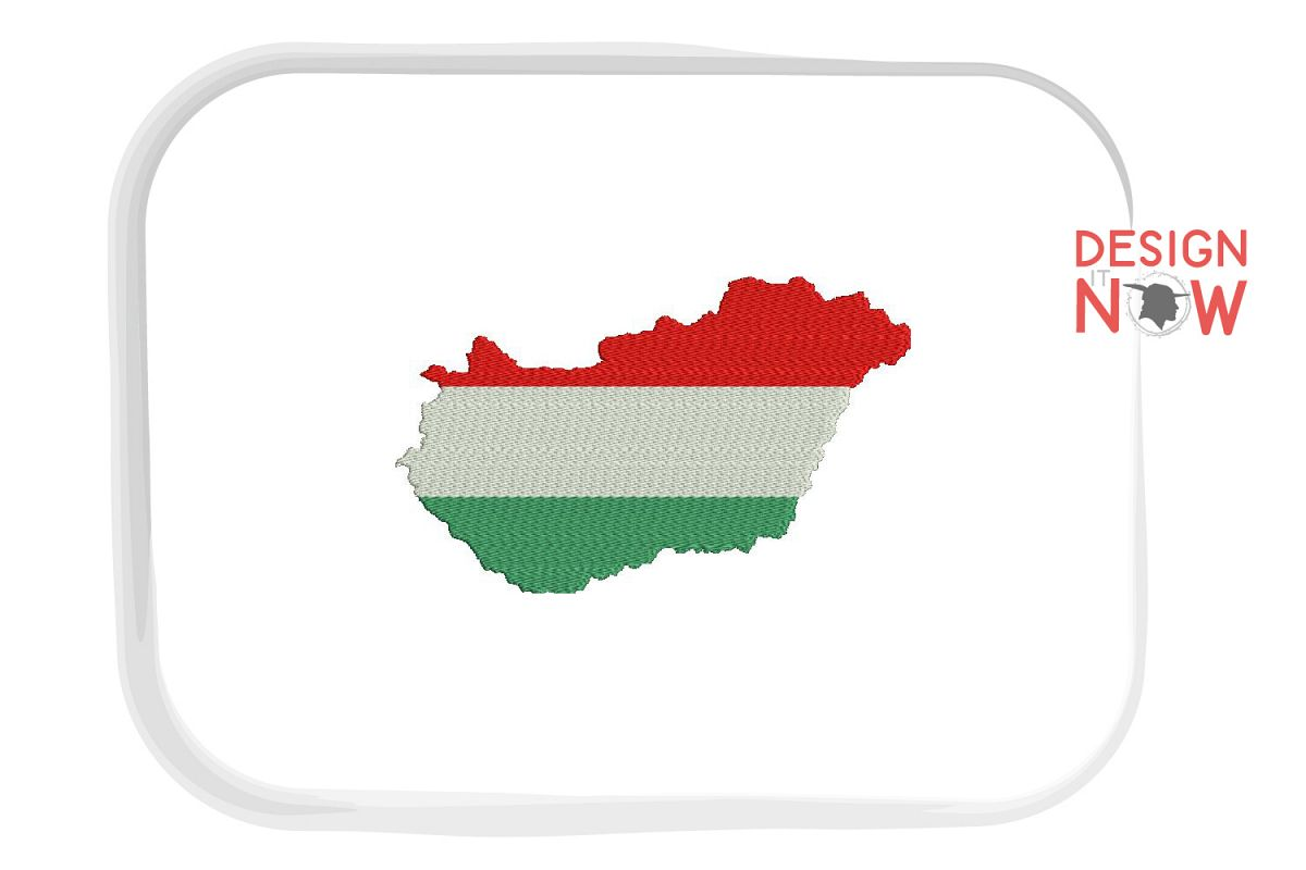 Flag Of Hungary Embroidery Design, Map Embroidery example image 1