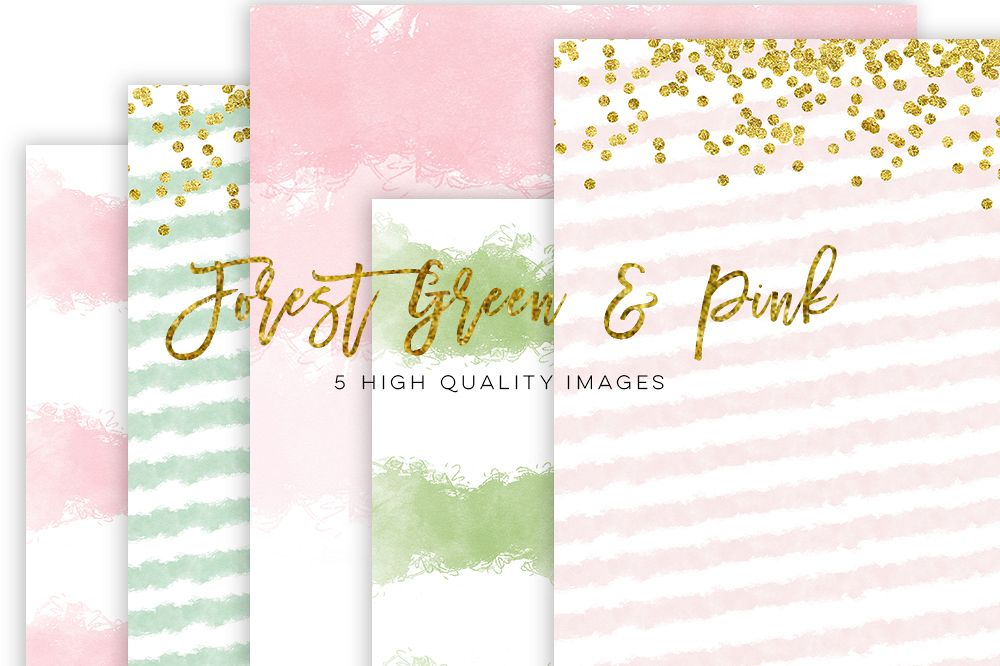 forest green and pink watercolor paper, gold pink watercolor paper, Watercolor Digital Scrapbooking Paper, scrapbook paper gold pink texture example image 1
