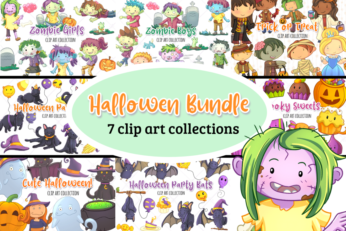 Halloween Graphics Bundle! Zombies, Bats, Ghosts and more! example image 1
