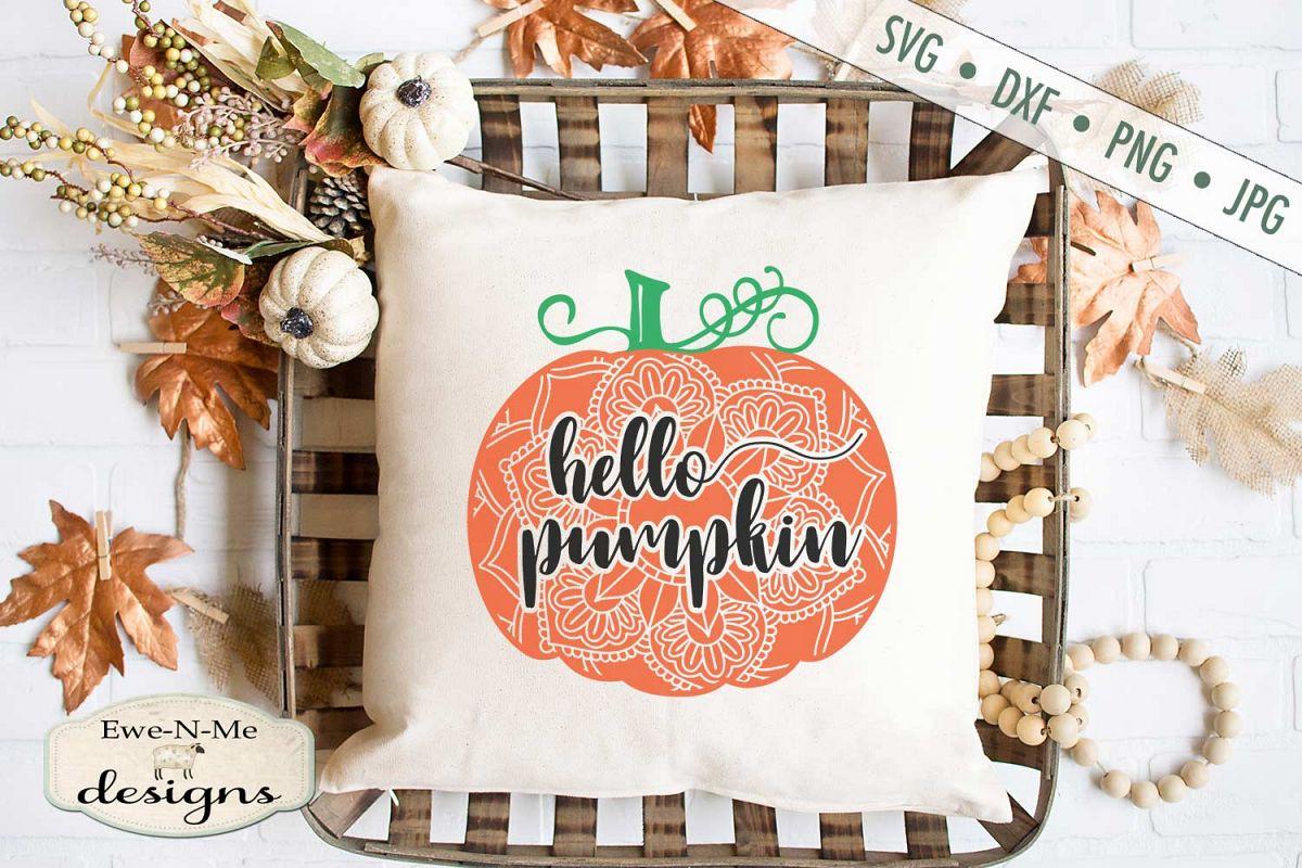Hello Pumpkin - Mandala - Autumn Fall - SVG DXF Files example image 1