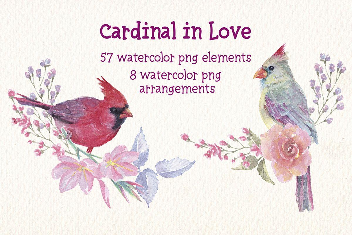 watercolor Cardinal in love clip art example image 1