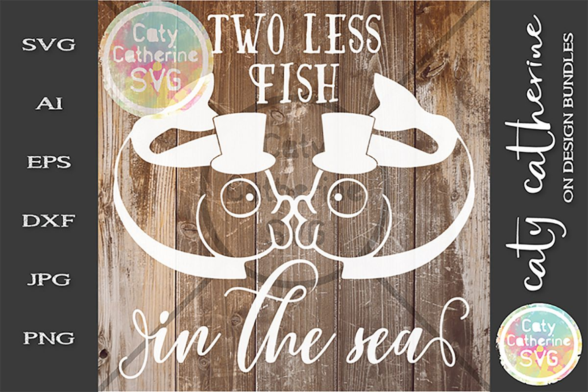 Two Less Fish In The Sea Mr & Mrs Wedding SVG Cut File example image 1