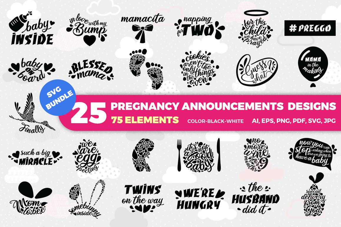BUNDLE Pregnancy Announcement SVG Cut Files example image 1